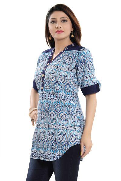Women Indian Short Kurti Tunic Top Kurta Shirt Dress Cotton Blue Printed NK31